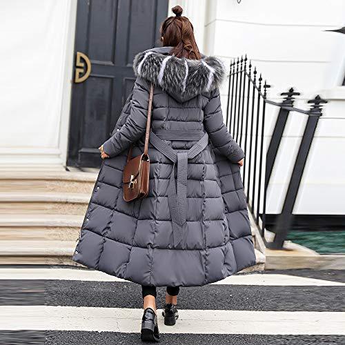 Beautétop Zippé Coton Doudoune Double Manteaux Cardigan coat De Veste À Casual Avec Mode Boutonnage Trench Manteau Vestes Hiver Femmes Blouson Fourrure Capuche Rembourré Poche Gris Chaud Long rf6Orx