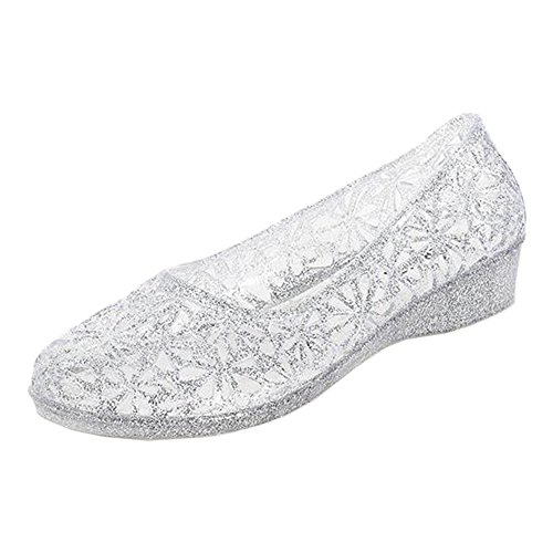 Eastlion Summer Women's Slope Bottom Sandals Crystal Flash Powder Transparent Jelly Garden Sandals Style 2 Silver BK0rp