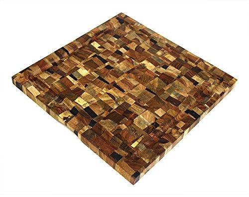 (Mountain Woods EGMS16 Mosaic End Grain Cutting Board, Square, L x 16'' W, 16 X 16 X 1)