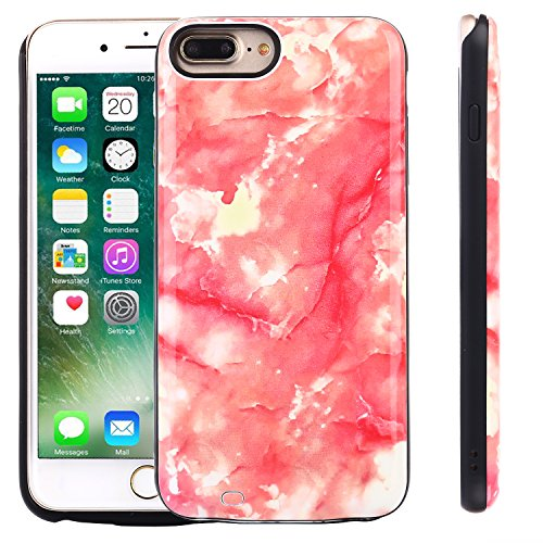 iPhone 8 Plus, iPhone 7 Plus, iPhone 6 Plus Battery Case, Marble Series - 6000mAh Ultra Slim Extended Battery Backup Charging Case Charger Pack Power Bank - Rouge
