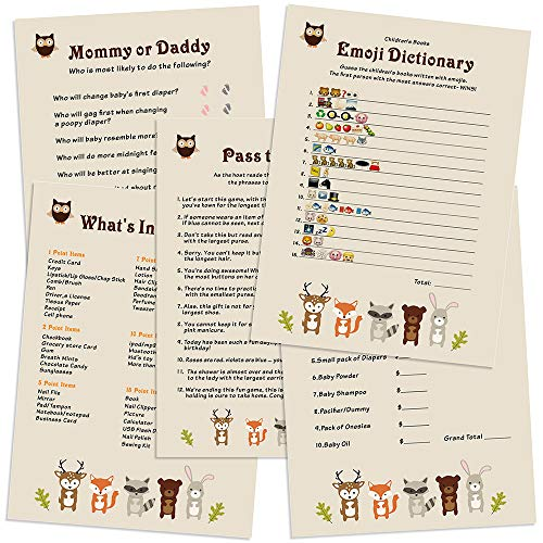 Woodland Animals Baby Shower Games Card Pack for Boy, Girl - Fun Gender Reveal Party, 5 Games, 101pcs Set (Woodland Animals Common)