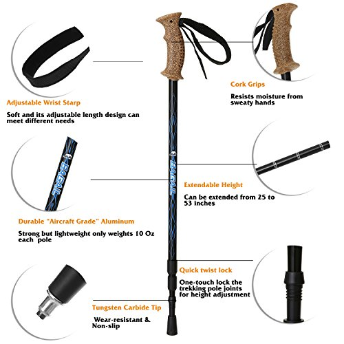 Bagail trekking Poles Anti Shock Adjustable Hiking Walking All around Trail Poles with EVA Foam Handle