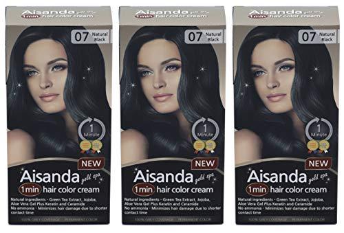 Aisanda/Assanta Gold Spa 1 Minute Hair Color Cream, Fast Natural Hair Dye For Women & Men With Herbal Ingredients, Ammonia Free (3Pack60g, Natural Black)
