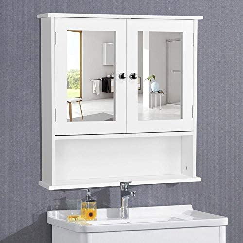 Yaheetech Medicine Cabinet with Double Mirror Doors, Bathroom Wall Mount Cabinet with Shelf, Wooden Storage Cabinets Organizer for Living Room, Home Kitchen Furniture