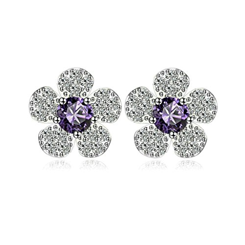 Bishilin Gold Plated Womens Stud Earring Purple Channel Set Rhinestone Earring Flower Bud Earrings