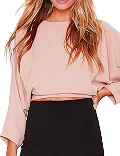 Back Womens Light T-shirt (HaoDuoYi Womens Solid Crop Tie Back Long Sleeve Tops T Shirt(S,Pink))