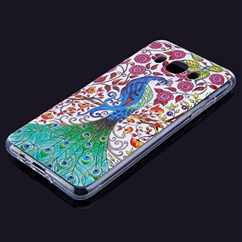 Funda Samsung Galaxy J5 2016 , Carcase Samsung Galaxy J5 2016 Silicona Transparente,Etsue Ultra Delgado Carcasa TPU para Samsung Galaxy J5 2016 Caso Gel Cristal Claro Cover con Creativa Gráfico Perro  Pavo real