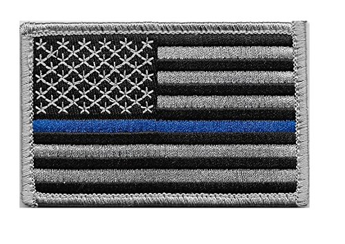 US Flag Thin Blue Line Velcro Patch for Police and Law - Patch Velcro Us Flag