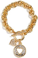 Guess Gold Heart Cut-out Charm Toggle Bracelet with Rhinestone