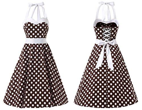Dresstells® Halter 50s Rockabilly Polka Dots Audrey Dress Retro Cocktail Dress Brown White Dot