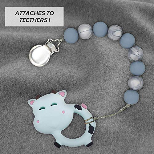 Clan-X Pacifier Clips, Universal Silicone Pacifier Clip Beaded Teething Holder and Soft Braided 2 in 1, BPA Free, Fit Binky Holder Leash Baby Shower Gifts (Dark Blue/Gray)