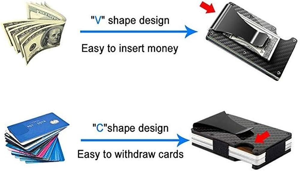 Unilive Metal Credit Card Clip Holder RFID Blocking Pocket Wallet Business Case