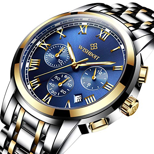 - WISHDOIT Mens Fashion Stainless Steel Waterproof Analog Quartz Watches Casual Sport Watch for Men Chronograph Date Dress Gents Wrist Watch Gold Blue