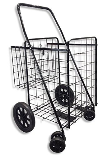 Wellmax WM99017S Double Basket Folding Shopping Cart with Swivel Wheels, Black (Food Cart On Wheels compare prices)