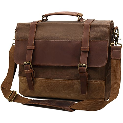 Kenox Men's Briefcase Messenger Bag Waterproof Waxed Canvas Genuine Leather Large Satchel Shoulder Bag for College