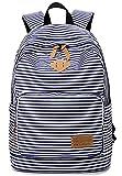 SAIERLONG Canvas Striped Backpacks Bookbag Rucksack For Womens Girls/Blue
