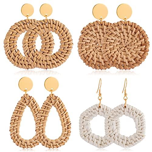 CHANBO 4 Pairs Lightweight Rattan Earrings for Women Girls Handmade Straw Wicker Braid Drop Dangle Earrings Geometric Statement Earrings for Women Valentine's Day/Birthday Gift