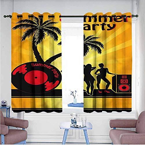 (VIVIDX Sliding Door Curtains,Beach,Party Girls Vinyl Record,Grommet Curtains for Bedroom,W72x72L)