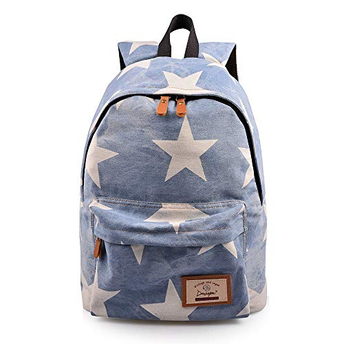 Lt Tribe Casual Backpack Star Printed Daypack School College Backpack for Girls Light Blue G00320 ()