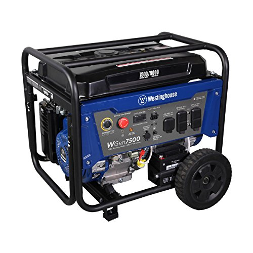 Westinghouse WGen7500 Portable Generator w/ Electric Start - 7500 Rated Watts & 9000 Peak Watts - Gas Powered - CARB Compliant (Diesel Powered Generator)