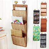 Stock Show Oxford 3 Pockets Magazines&File Hanging Organizer Storage Holder (Bamboo Weaving Pattern)