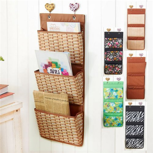 Stock Show Oxford 3 Pockets Magazines&File Hanging Organizer Storage Holder (Bamboo Weaving Pattern)