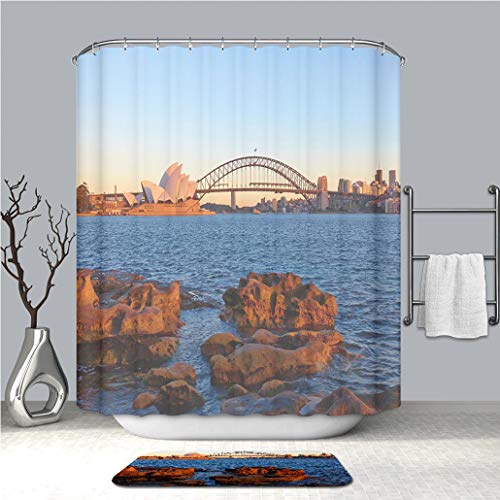 (BEICICI Shower Curtain and Bath mat Rug Icons of Sydney from Mrs Macquarie s Point Custom Stylish,Waterproof,Mildew Proof Bathroom Set)