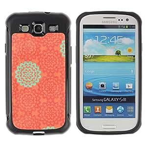 Híbridos estuche rígido plástico de protección con soporte para el SAMSUNG GALAXY S3 - wallpaper pattern orange teal