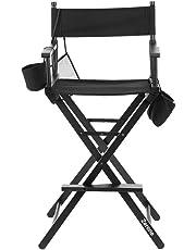 Silla de director plegable, artista de maquillaje plegable silla de madera silla salon Make Up con bolsas laterales negro