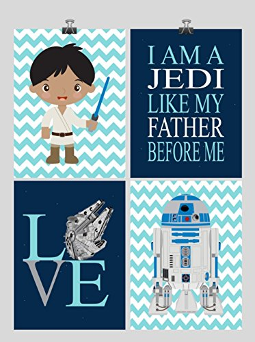 Star Wars Nursery Decor Set of 4 Art Prints - I Am A Jedi Like My Father Before Me, Love, Millennium Falcon, R2D2 and Luke Skywalker with dark skin tone - Colors Fit What Skin My Tone