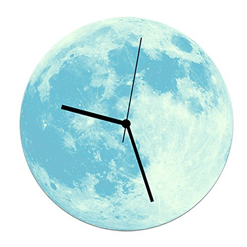 Happy Hours - 30cm Luminous Moon Decor Quartz Wall Clock / Creative Glow in the Dark Wall Stickers for Kids, Boy, Girls Bedroom, Children Room, Playroom With Super Silent Movement(Blue)