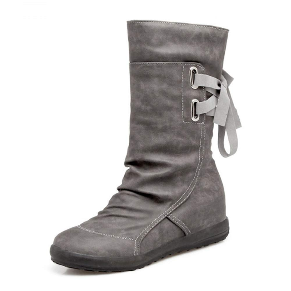 PINGXIANNV Damen Stiefel Winter Warme Schuhe Frau Bowtie Für Frauen Stiefel Die Hälfte Kurze Stiefel Frauen Mode Damen Schuhe 77935d