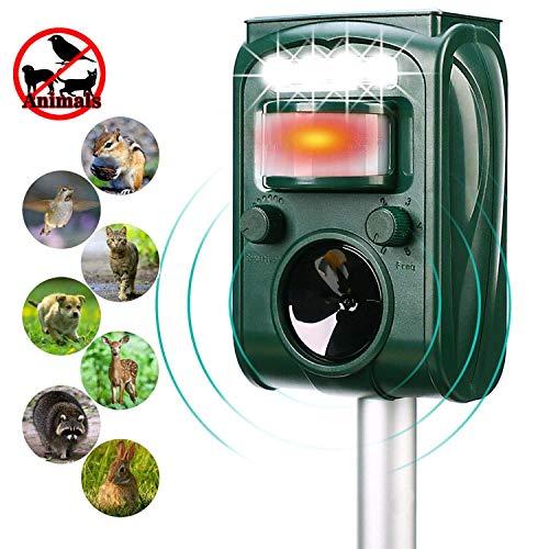 Shenlin Solar Animal Repellent,Solar Powered Waterproof Outdoor Animal Repeller with LED Flashing Light Deterrent to Repel Raccoon, Cats, Dogs, Birds, Rabbit, Squirrel, Skunks, Deer, Rodent