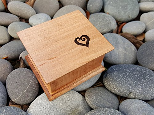 Custom made music box with a heart carved on the top with your choice of color and song, perfect anniversary gift (Carved Maple Top)