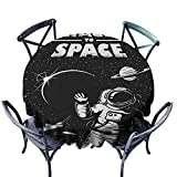 ScottDecor Microfiber Round Tablecloth Jacquard Tablecloth Astronaut,The Race to Space Retro Image