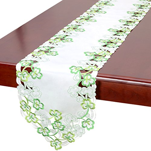 Simhomsen Irish Clover Table Runners, Embroidered Shamrock Table Linen For St. Patrick's Day And Spring 13 By 70 Inch Patricks Day Table