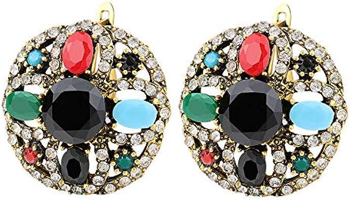 Vintage cristal pendientes clips para mujeres Tibet aleación resina Bohemia pendientes joyería mezcla al por mayor lotes de mezcla