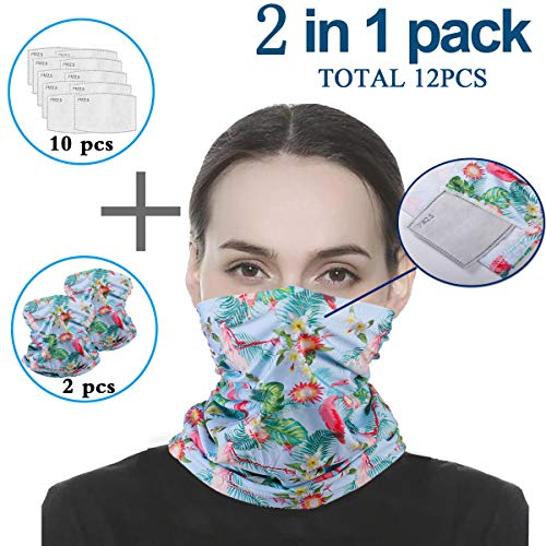 2 Pcs Scarf Bandanas Neck Gaiter with 10 Pcs Safety Carbon Filters,Multi-Purpose Headwear for Men Women Sports/Outdoors
