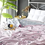 Scientific Sleep Love Pink Cute Cozy Lightweight Muslin Cotton Blanket Ful/Queen, Throw Blanket for Bed, Couch & Sofa, Summer Bedding Coverlet (F/Q 78'' X 90'', love2)