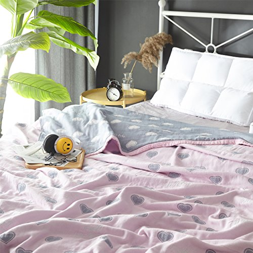 Scientific Sleep Love Pink Cute Cozy Lightweight Muslin Cotton Blanket Ful/Queen, Throw Blanket for Bed, Couch & Sofa, Summer Bedding Coverlet (F/Q 78'' X 90'', love2) by Scientific Sleep