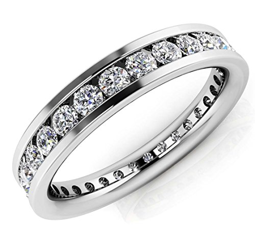 14K White Gold 1.5ct Round Diamond SI1,SI2 G-H 3.7mm Eternity Band 4.3gr Ring Size 7 -  Zhannel, 536-10W-14-37-7