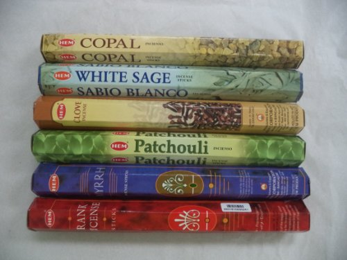 HEM Copal, White Sage, Clove, Patchouli, Frankincense, Myrrh Incense 120 Sticks Lot