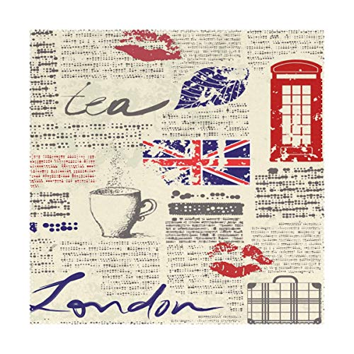 YATELI Placemats Newspaper UK London Coffee Red Lip 12x12 inch Heat Resistant Set of 4 Non Slip for Dinning Kitchen (Placemats Uk Rattan)
