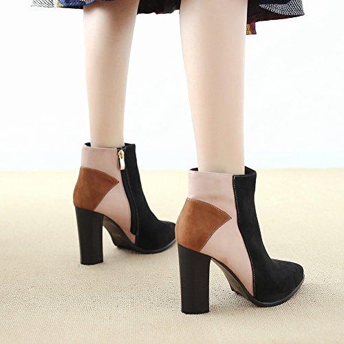 Botas de Punta Botas de de Martin Mujer negro EUR35 de con Femenino Color Botas Gruesas Golpean Tacones 1gYOq1p