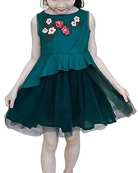 Yonglan Vestido De Princesa Para Niñas Sin Mangas Bordado Flores Verano Casual Fiesta Tul Vestidos Azul