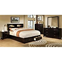 247SHOPATHOME Idf-7291EX-CK-6PC Bedroom-Furniture-Sets, California King, Espresso