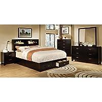247SHOPATHOME Idf-7291EX-CK-6PC Bedroom-Furniture-Sets, California King, Espresso