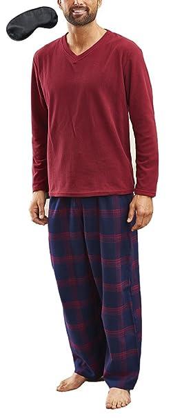 Champion - Pijama - Cuello en V - Manga Larga - para Hombre Rojo Rosso XX