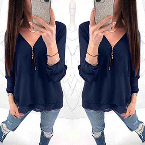 Womens Tank GreatestPAK Ladies Blouse Casual Chiffon V Tops Sexy Long Blouses Navy Neck Shirt Zipper Newest T Sleeve AqPUtrAfw