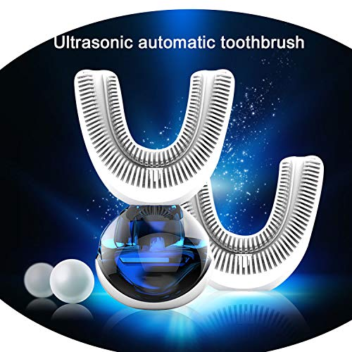 New 360 Degrees Automatic Sonic Electric Toothbrush USB Rechargeable Ultrasonic U Shape Toothbrush Double Heads 15 Seconds,